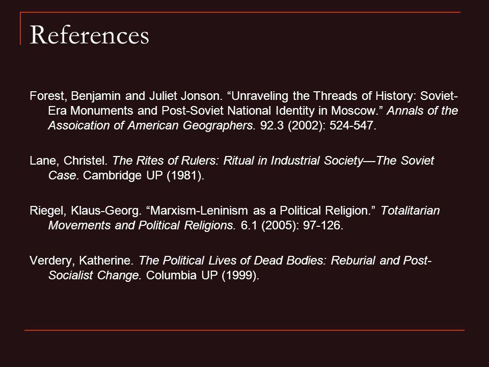 References Forest, Benjamin and Juliet Jonson.