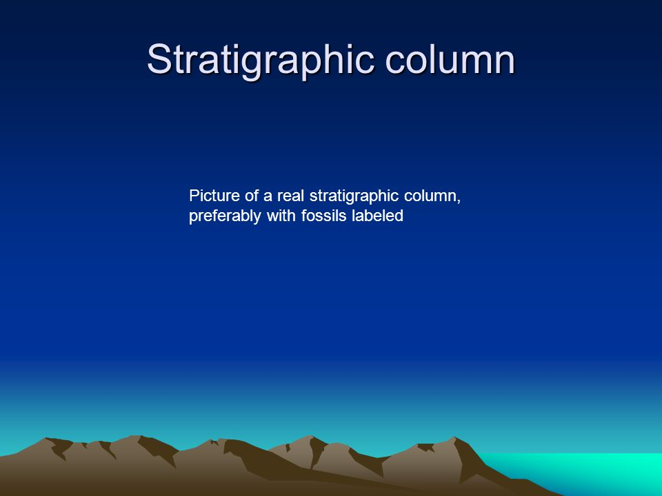 Stratigraphic column Picture of a real stratigraphic column, preferably with fossils labeled