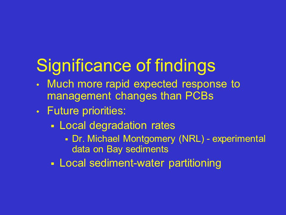 Significance of findings Much more rapid expected response to management changes than PCBs Future priorities:  Local degradation rates  Dr.