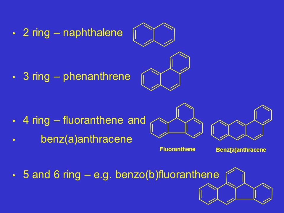 2 ring – naphthalene 3 ring – phenanthrene 4 ring – fluoranthene and benz(a)anthracene 5 and 6 ring – e.g.