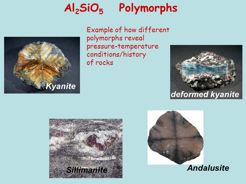 Kyanite Andalusite Sillimanite deformed kyanite Al 2 SiO 5 Polymorphs Example of how different polymorphs reveal pressure-temperature conditions/histo