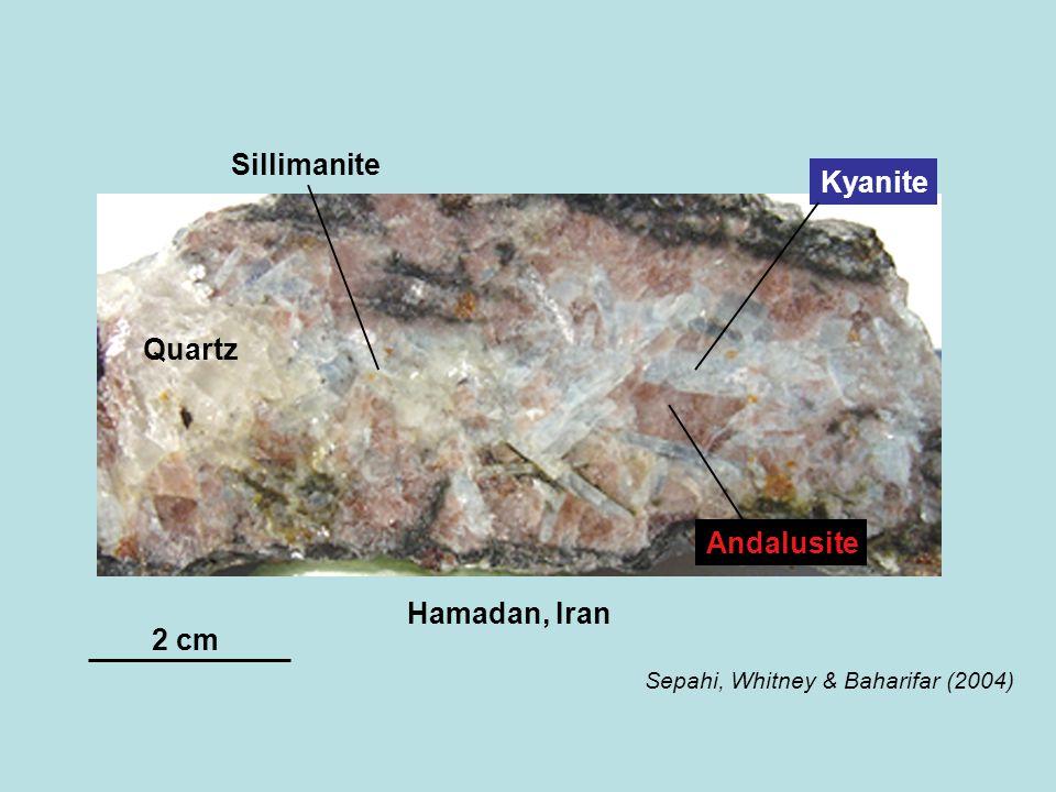 Andalusite Kyanite Sillimanite Quartz Hamadan, Iran Sepahi, Whitney & Baharifar (2004) 2 cm