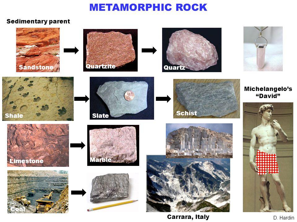 METAMORPHIC ROCK Sedimentary parent Sandstone Quartzite Quartz Shale Slate Limestone Marble Coal .