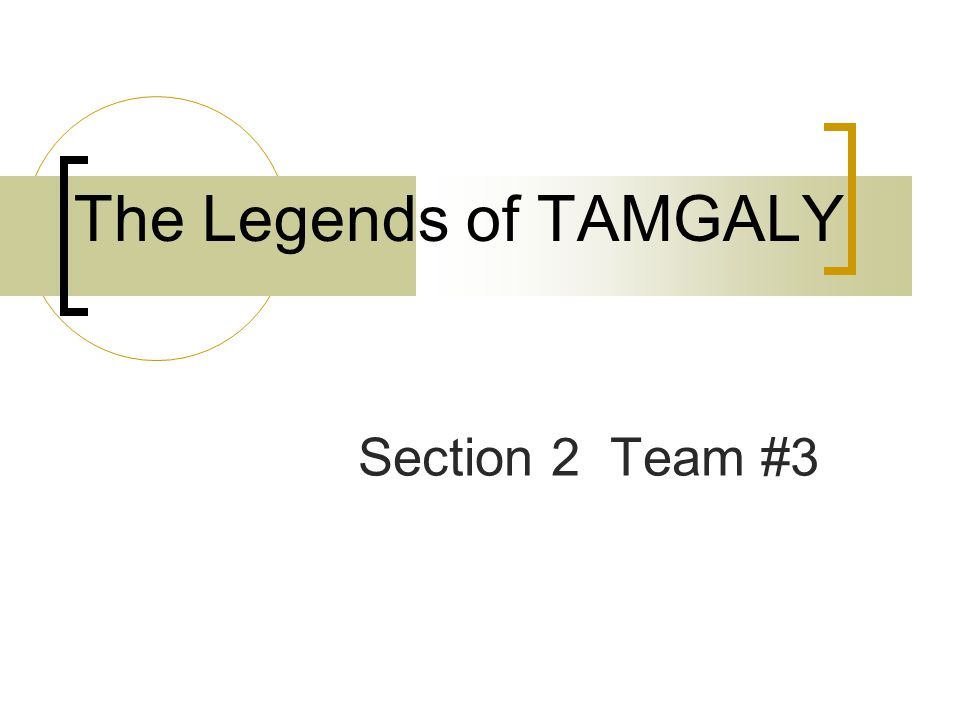 The Legends of TAMGALY Section 2 Team #3