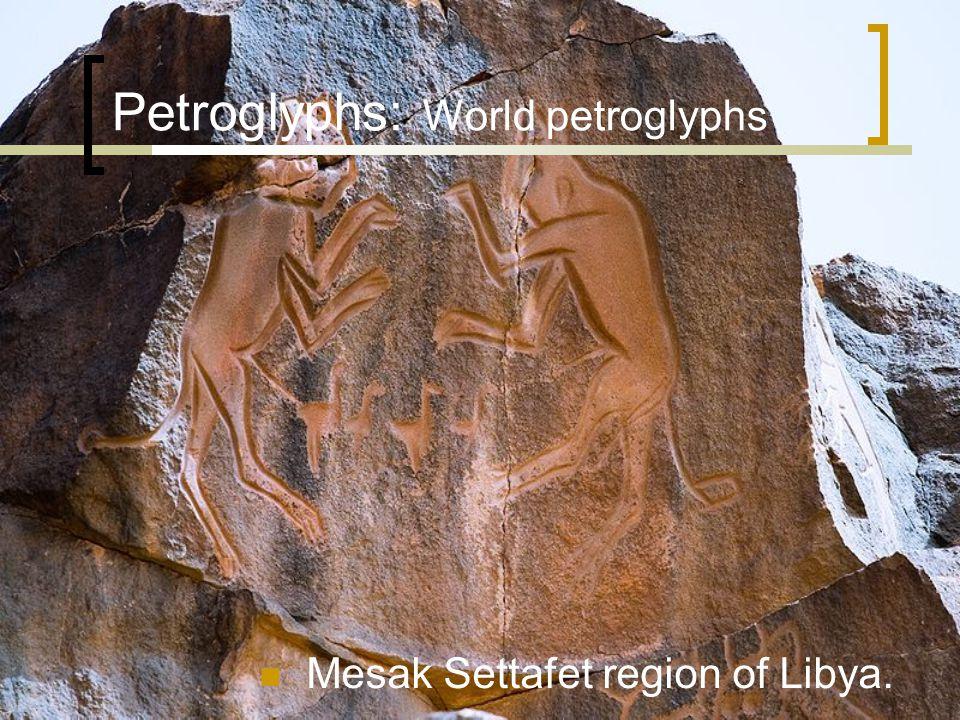 Petroglyphs: World petroglyphs Mesak Settafet region of Libya.