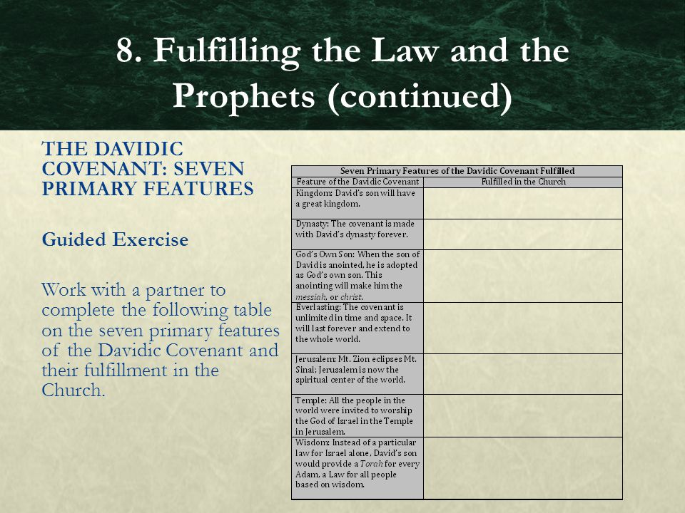 THE DAVIDIC COVENANT: SEVEN PRIMARY FEATURES Guided Exercise Work with a partner to complete the following table on the seven primary features of the