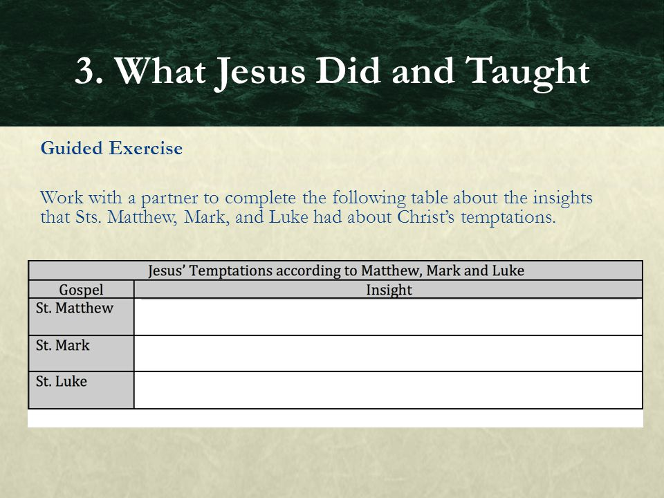 Guided Exercise Work with a partner to complete the following table about the insights that Sts. Matthew, Mark, and Luke had about Christ's temptation