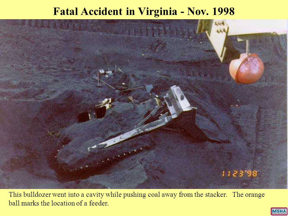 Fatal Accident in Virginia - Nov. 1998 This bulldozer went into a cavity while pushing coal away from the stacker. The orange ball marks the location