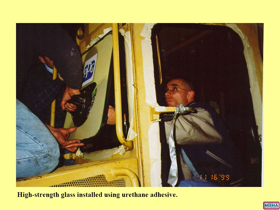 High-strength glass installed using urethane adhesive.