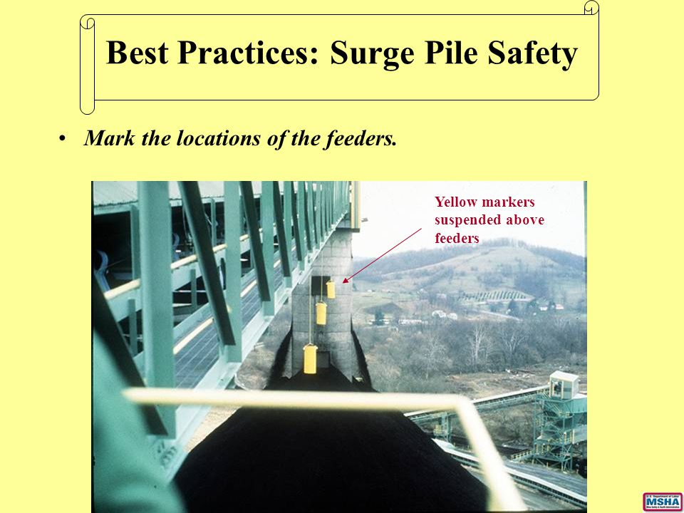 Mark the locations of the feeders. Best Practices: Surge Pile Safety Yellow markers suspended above feeders