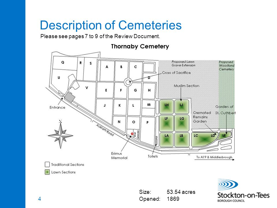 4 Description of Cemeteries Size:53.54 acres Opened:1869 Please see pages 7 to 9 of the Review Document.