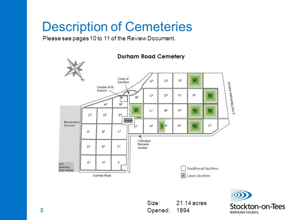 5 Description of Cemeteries Size:21.14 acres Opened:1894 Please see pages 10 to 11 of the Review Document.