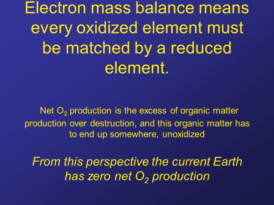 Electron mass balance means every oxidized element must be matched by a reduced element. Net O 2 production is the excess of organic matter production