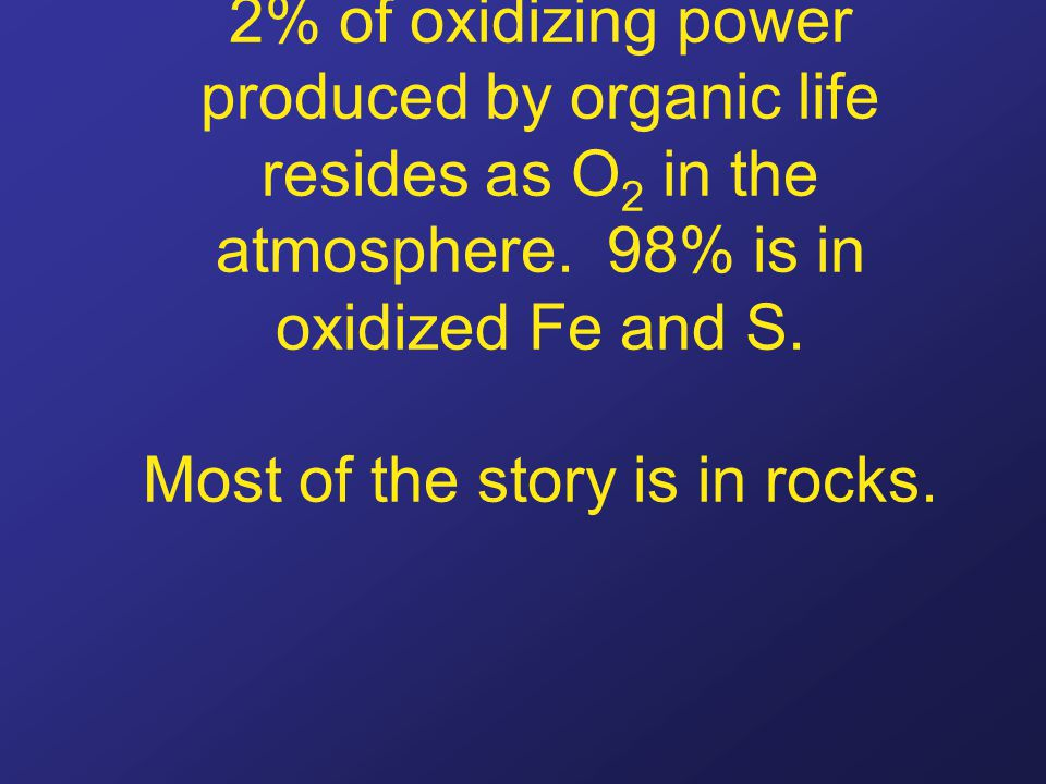 2% of oxidizing power produced by organic life resides as O 2 in the atmosphere. 98% is in oxidized Fe and S. Most of the story is in rocks.