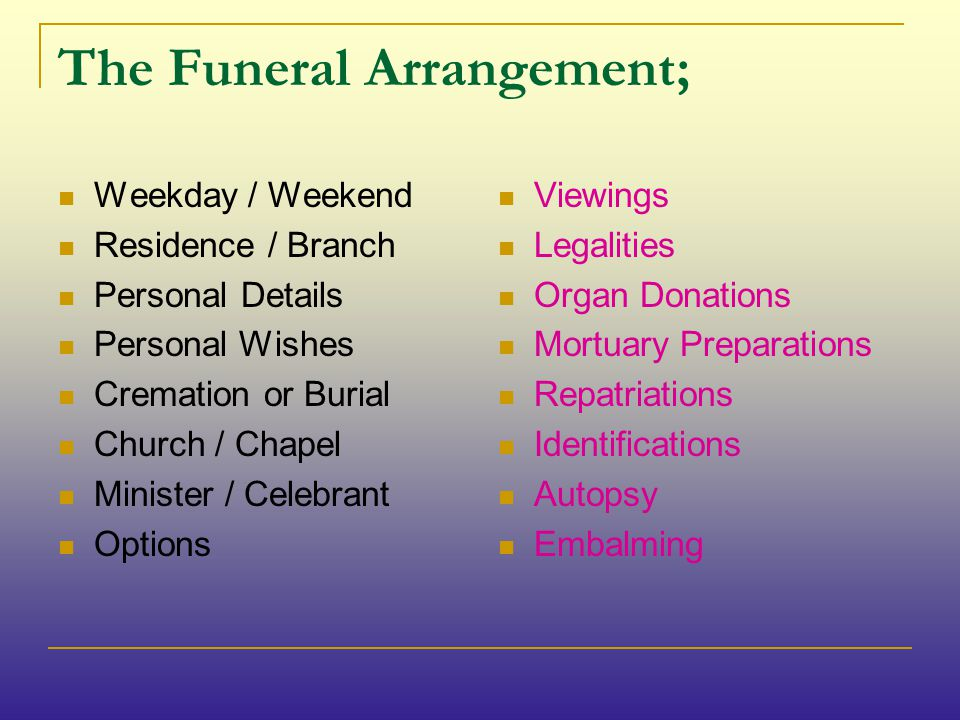 The Funeral Arrangement; Weekday / Weekend Residence / Branch Personal Details Personal Wishes Cremation or Burial Church / Chapel Minister / Celebrant Options Viewings Legalities Organ Donations Mortuary Preparations Repatriations Identifications Autopsy Embalming