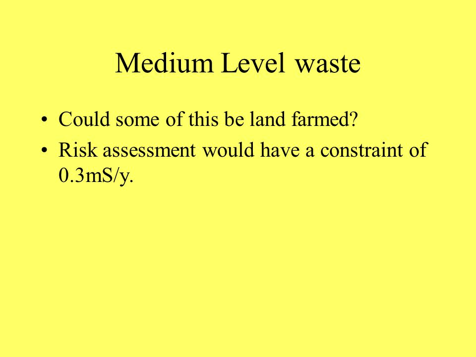 Medium Level waste Could some of this be land farmed.