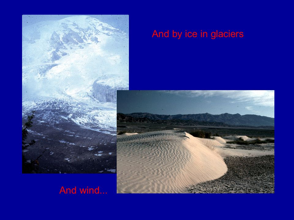 And by ice in glaciers And wind...