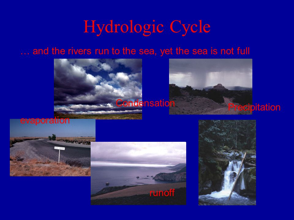 Hydrologic Cycle … and the rivers run to the sea, yet the sea is not full evaporation Condensation Precipitation runoff
