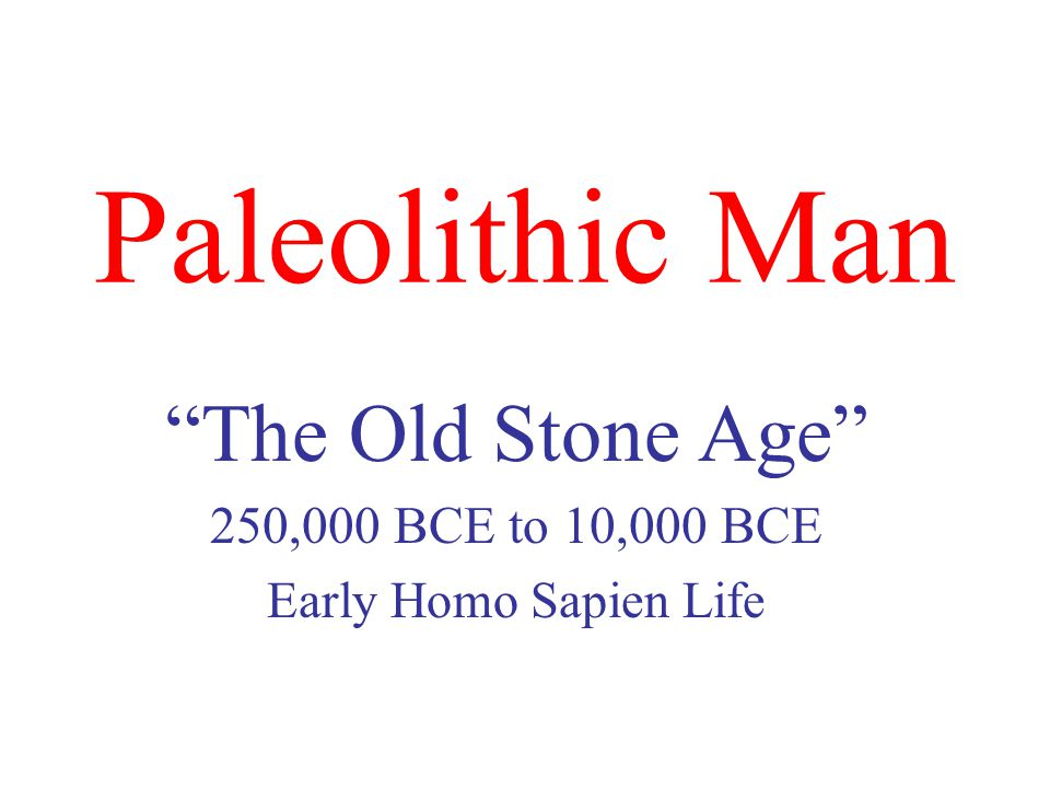 Paleolithic Man The Old Stone Age 250,000 BCE to 10,000 BCE Early Homo Sapien Life