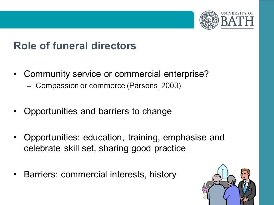 Role of funeral directors Community service or commercial enterprise.