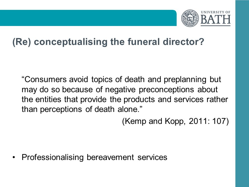 (Re) conceptualising the funeral director.