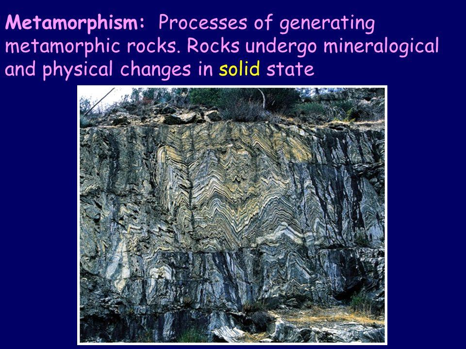 Metamorphism: Processes of generating metamorphic rocks.