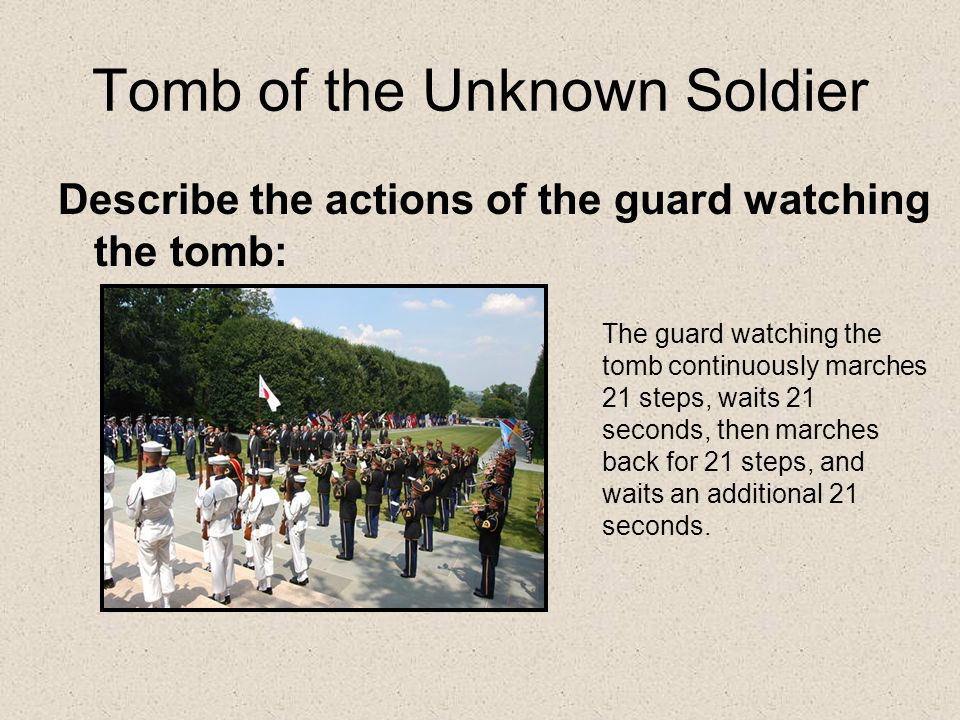 Tomb of the Unknown Soldier Describe the actions of the guard watching the tomb: The guard watching the tomb continuously marches 21 steps, waits 21 seconds, then marches back for 21 steps, and waits an additional 21 seconds.