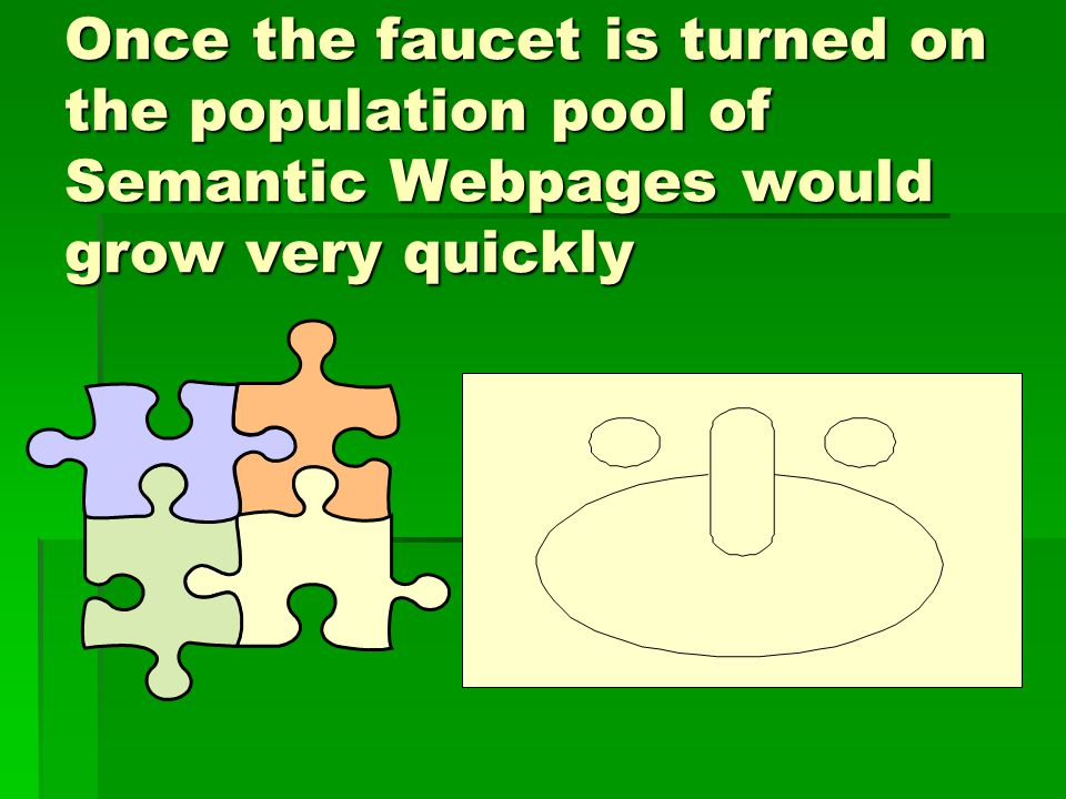 Once the faucet is turned on the population pool of Semantic Webpages would grow very quickly
