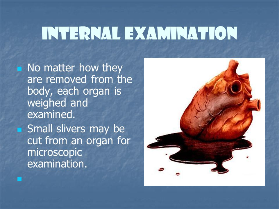 Internal Examination No matter how they are removed from the body, each organ is weighed and examined. Small slivers may be cut from an organ for micr