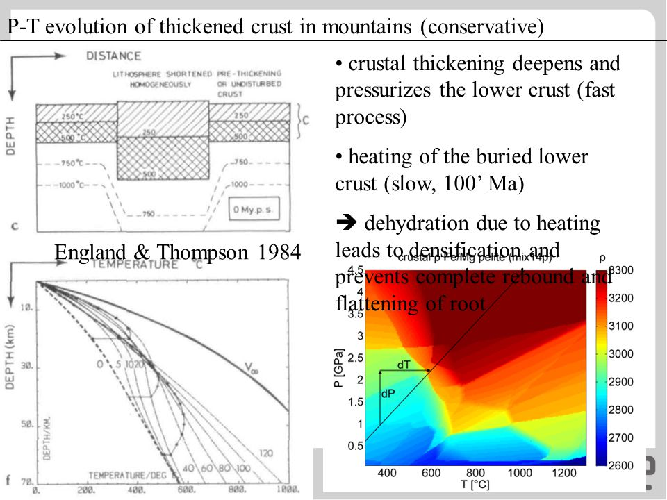 England & Thompson 1984 P-T evolution of thickened crust in mountains (conservative) crustal thickening deepens and pressurizes the lower crust (fast
