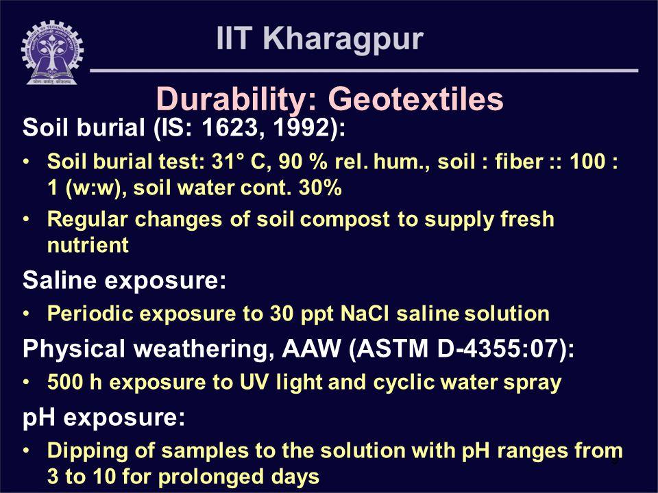9 Durability: Geotextiles Soil burial (IS: 1623, 1992): Soil burial test: 31° C, 90 % rel. hum., soil : fiber :: 100 : 1 (w:w), soil water cont. 30% R