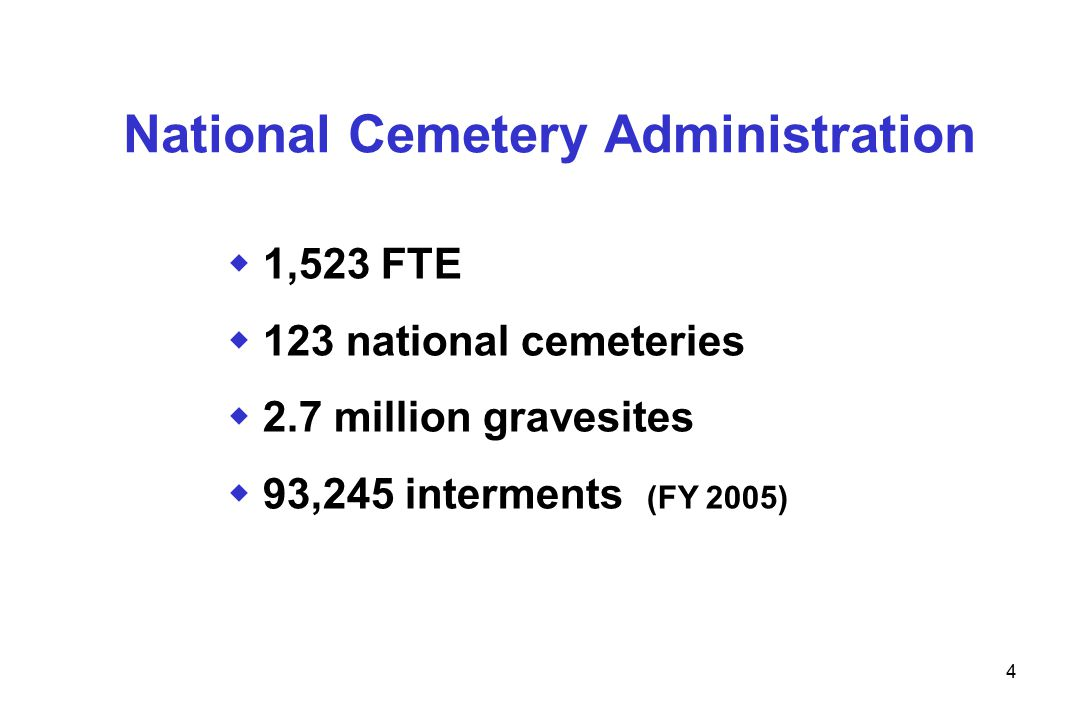 5 National Cemetery Administration FY 2005 – Memorial Programs 363,627 Headstones and Markers Provided 487,809 Presidential 487,809 Presidential Memorial Certificates Memorial Certificates