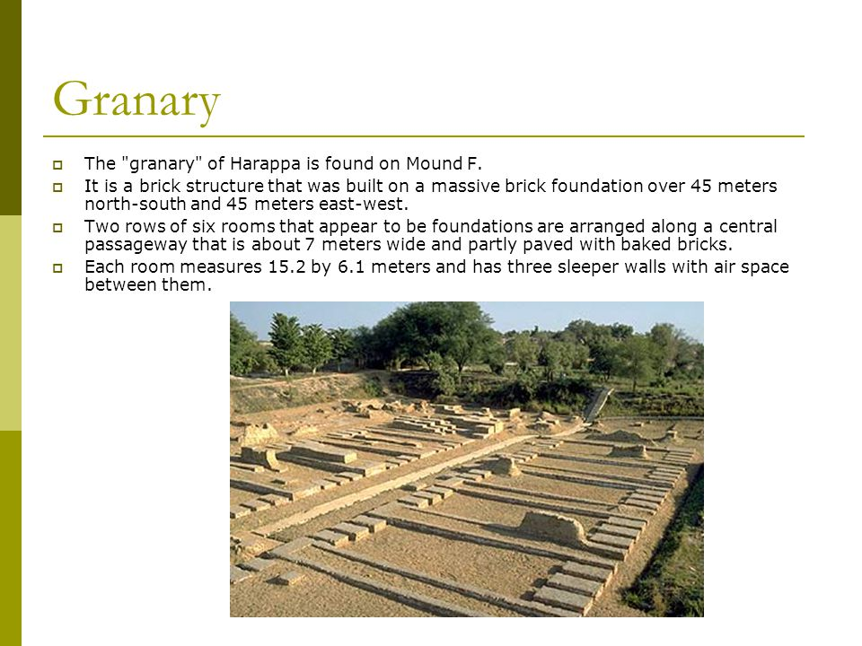 Granary  The granary of Harappa is found on Mound F.