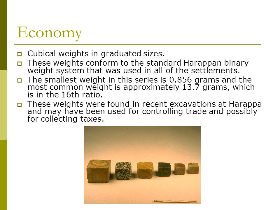 Economy  Cubical weights in graduated sizes.