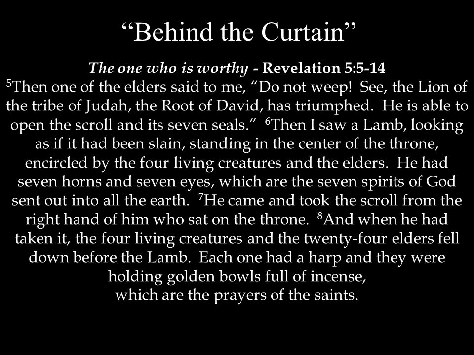 Behind the Curtain The one who is worthy - Revelation 5:5-14 5 Then one of the elders said to me, Do not weep.