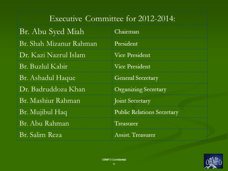 OBMFO Confidential 11 Executive Committee for 2012-2014: Br.