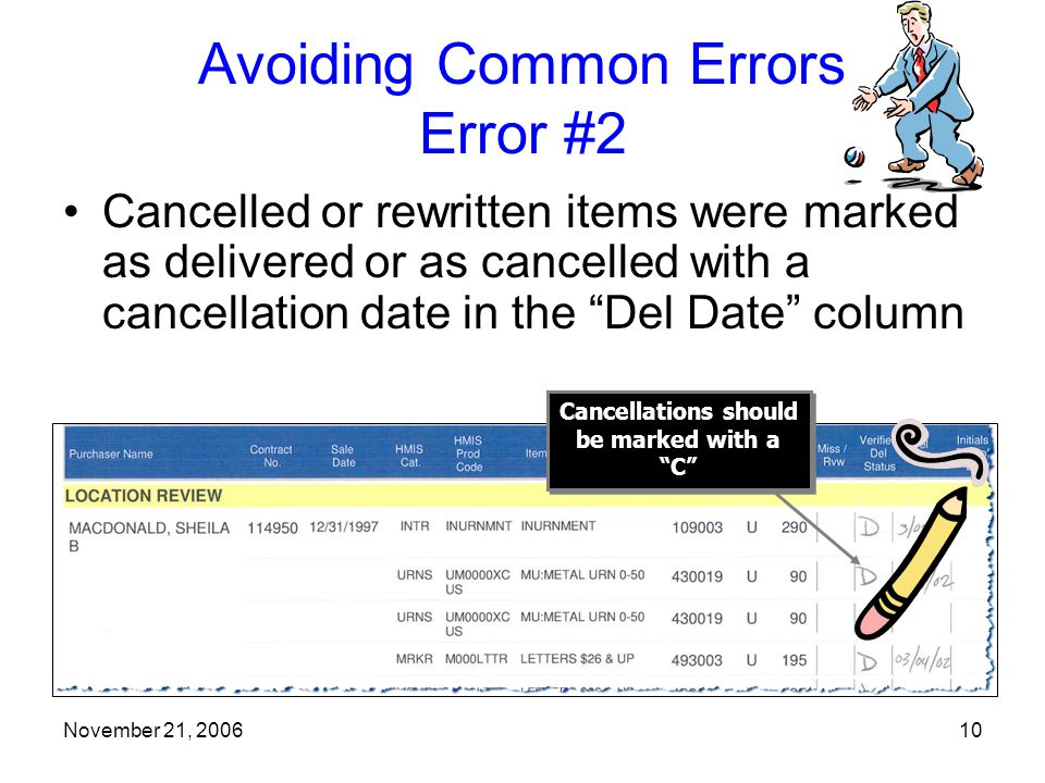 November 21, 200610 Avoiding Common Errors Error #2 Cancelled or rewritten items were marked as delivered or as cancelled with a cancellation date in the Del Date column Cancellations should be marked with a C