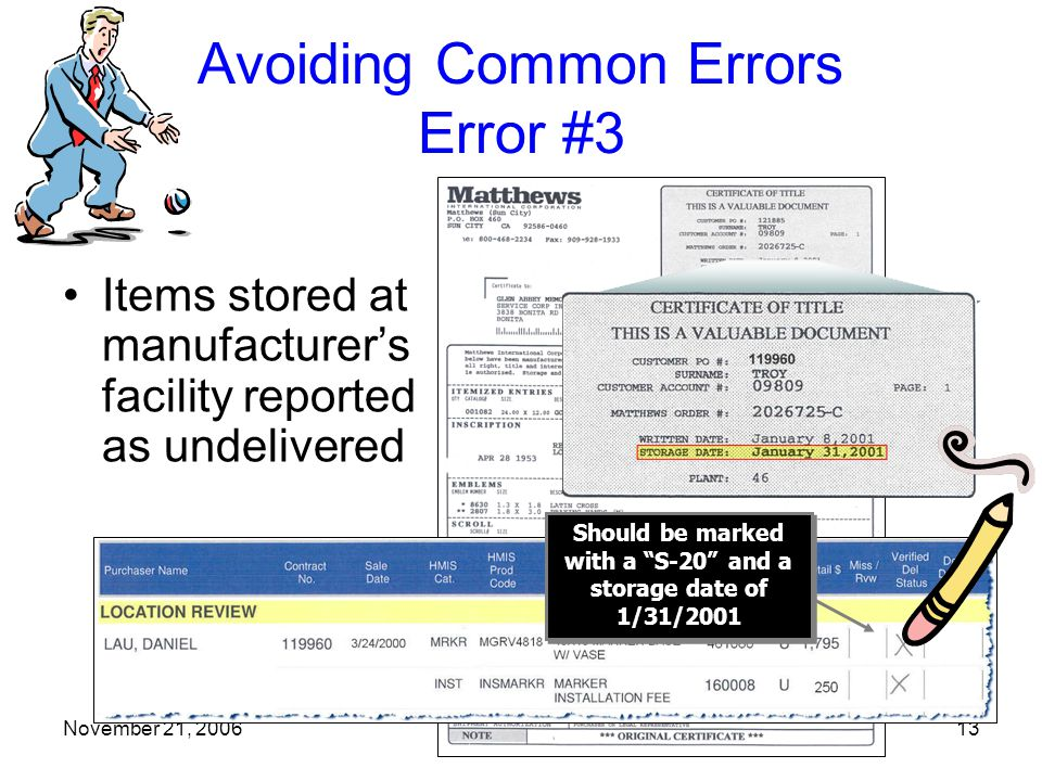 November 21, 200613 Avoiding Common Errors Error #3 Items stored at manufacturer's facility reported as undelivered Should be marked with a S-20 and a storage date of 1/31/2001