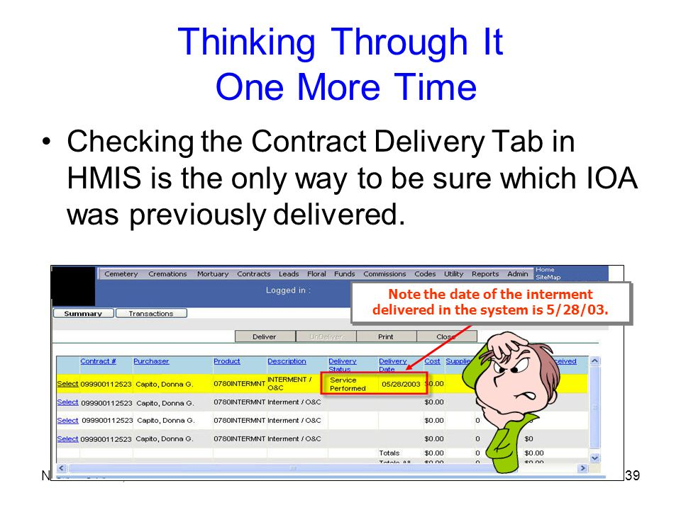 November 21, 200639 Thinking Through It One More Time Checking the Contract Delivery Tab in HMIS is the only way to be sure which IOA was previously delivered.