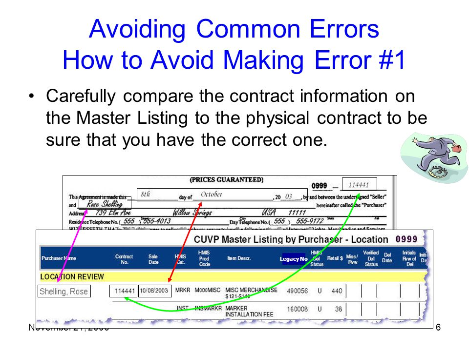 November 21, 20066 Avoiding Common Errors How to Avoid Making Error #1 Carefully compare the contract information on the Master Listing to the physical contract to be sure that you have the correct one.
