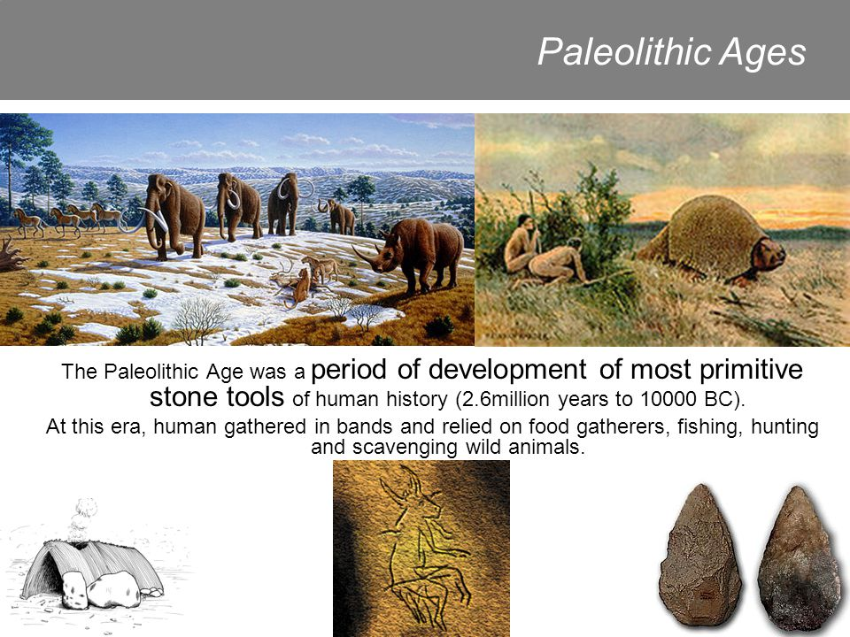The Paleolithic Age was a period of development of most primitive stone tools of human history (2.6million years to 10000 BC).