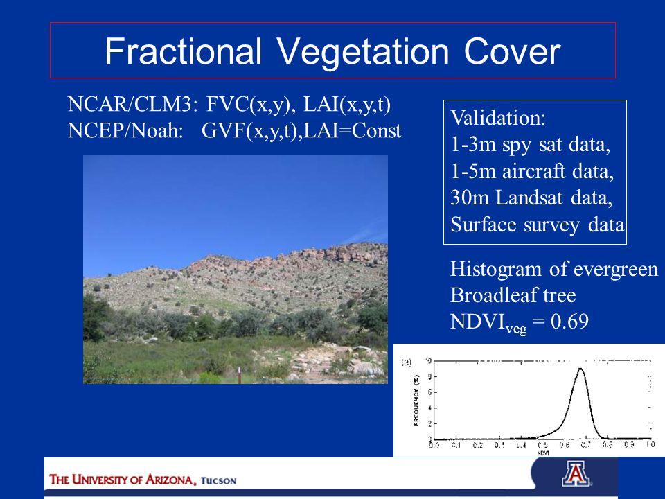 NCAR/CLM3: FVC(x,y), LAI(x,y,t) NCEP/Noah: GVF(x,y,t),LAI=Const Validation: 1-3m spy sat data, 1-5m aircraft data, 30m Landsat data, Surface survey data Histogram of evergreen Broadleaf tree NDVI veg = 0.69 Fractional Vegetation Cover