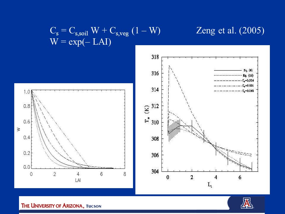 C s = C s,soil W + C s,veg (1 – W) Zeng et al. (2005) W = exp(– LAI)