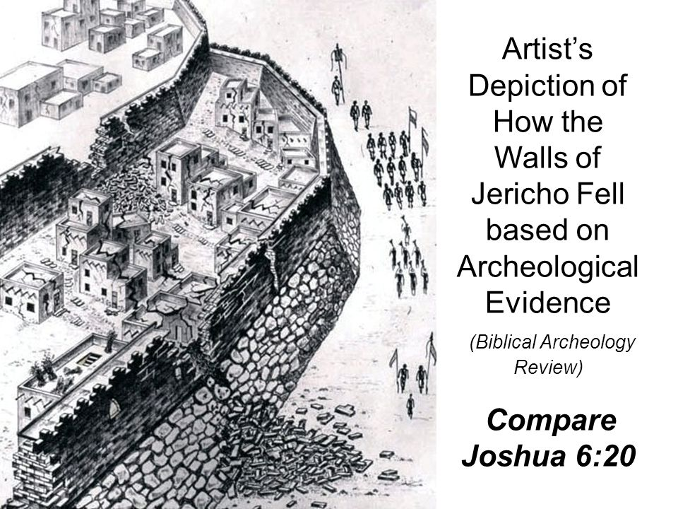 Artist's Depiction of How the Walls of Jericho Fell based on Archeological Evidence (Biblical Archeology Review) Compare Joshua 6:20