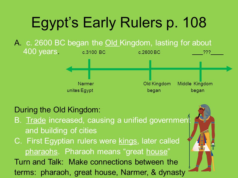 3-2-1 Turn and Talk EQ : What makes the Egyptian culture unique.