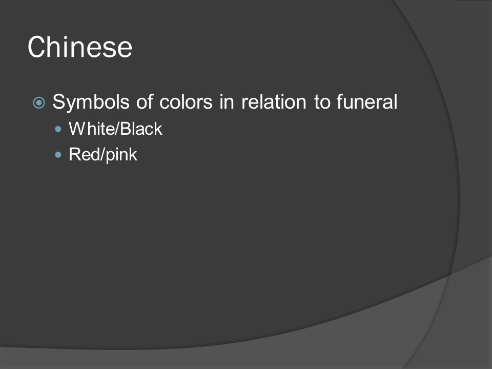 Chinese  Symbols of colors in relation to funeral White/Black Red/pink
