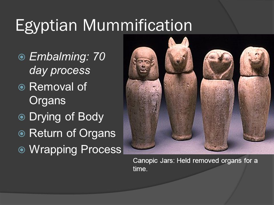Egyptian Mummification  Embalming: 70 day process  Removal of Organs  Drying of Body  Return of Organs  Wrapping Process Canopic Jars: Held remov