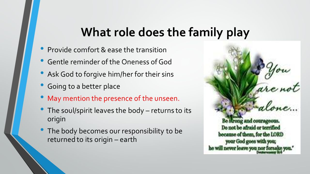 What role does the family play Provide comfort & ease the transition Gentle reminder of the Oneness of God Ask God to forgive him/her for their sins Going to a better place May mention the presence of the unseen.