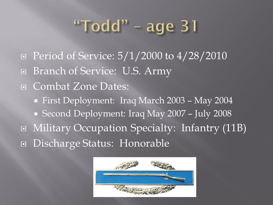  Period of Service: 5/1/2000 to 4/28/2010  Branch of Service: U.S. Army  Combat Zone Dates:  First Deployment: Iraq March 2003 – May 2004  Second