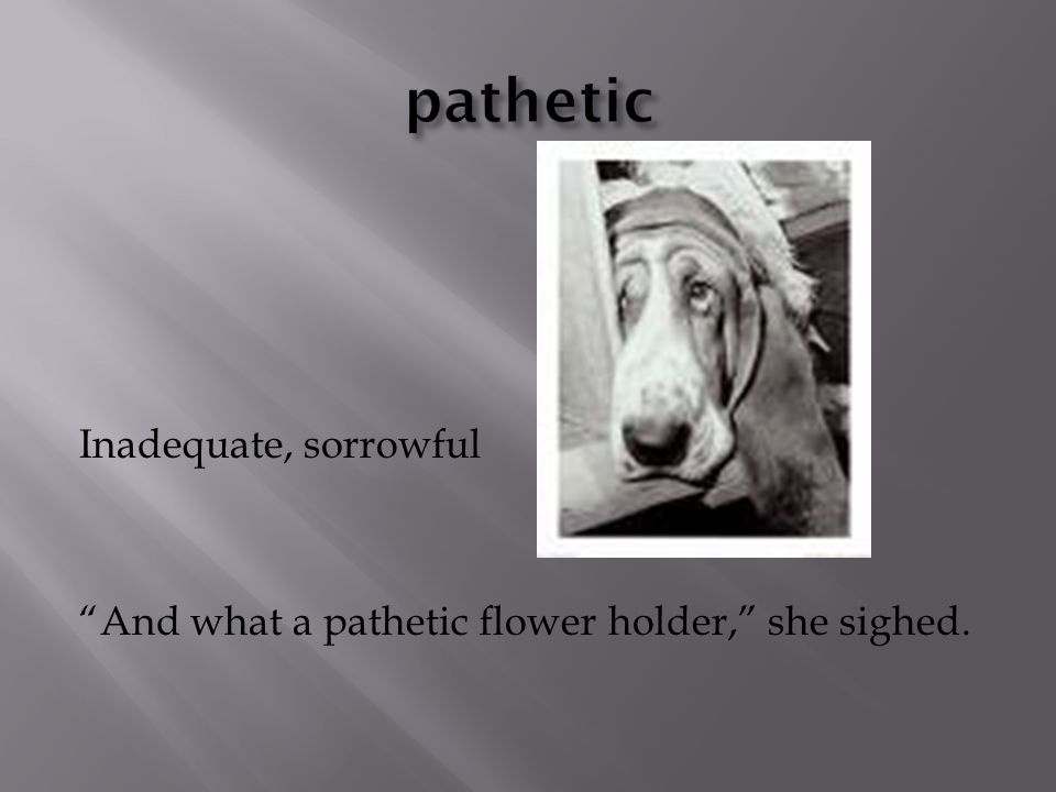 Inadequate, sorrowful And what a pathetic flower holder, she sighed.